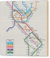 Americas Metro Map Wood Print