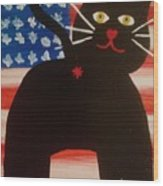 Americat Cat Butt Wood Print