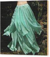 Ameynra Design Aqua-green Chiffon Skirt Wood Print