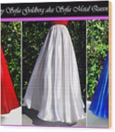 Ameynra Design. Satin Skirts - Red, White, Blue Wood Print