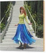 Ameynra Fashion. Petal Skirt. Model Sofia Wood Print