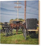 Amish At The Auction Wood Print