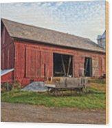 Amish Barn At Sunrise Wood Print