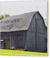 Amish Barn With Gambrel Roof And Hay Bales Indiana Usa Wood Print