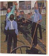 Amish Boys Play Volleyball Farm Wood Print