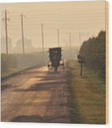 Amish Buggy And Corn Over Your Head Wood Print