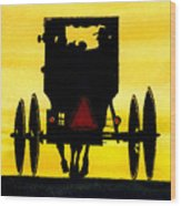 Amish Buggy At Dusk Wood Print