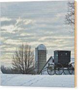 Amish Buggy At Morning Wood Print