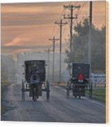Amish Buggy Sunday Morning Wood Print