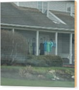 Amish Clothing Hanging To Dry Wood Print