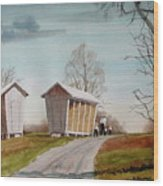 Amish Corncribs Wood Print