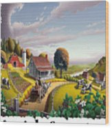 Amish Country - Appalachian Blackberry Patch Country Farm Landscape 2 Wood Print