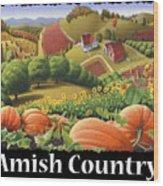 Amish Country T Shirt - Appalachian Pumpkin Patch Country Farm Landscape 2 Wood Print