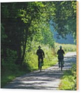 Amish Couple On Bicycles Wood Print
