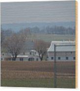 Amish Farm After Harvest Wood Print