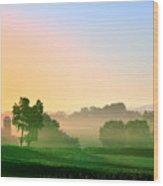 Amish Farm Sunrise Wood Print