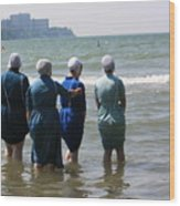 Amish Girls In The Surf Wood Print