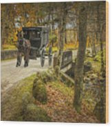 Amish Horse And Buggy Crossing A Bridge Wood Print
