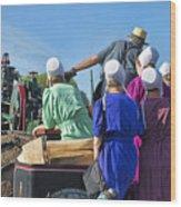 Amish On Steam Engine Wood Print