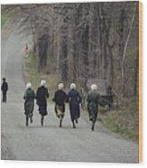 Amish People Visiting Middle Creek Wood Print