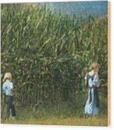 Amish Siblings In Cornfield  Wood Print