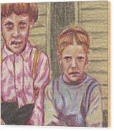 Amish Siblings Wood Print