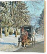 Amish Winter Wood Print by David Arment