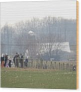 Amish Youth Gather After A Volleyball Game Wood Print