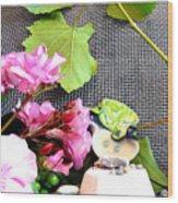 Among Leaves And Flowers Wood Print by Chara Giakoumaki