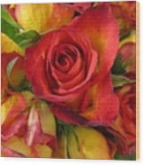 Among The Rose Leaves Wood Print