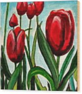 Among The Tulips Wood Print
