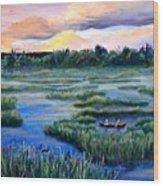 Amongst The Reeds Wood Print