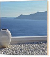 Amphora In Santorini, Greece Wood Print