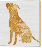 Amstaff Gold Silhouette Large Poster Wood Print
