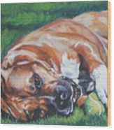 Amstaff With Ball Wood Print