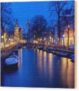 Amsterdam - A Canal Scene At Night . L B Wood Print