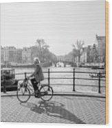Amsterdam Bike Ride Wood Print