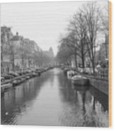 Amsterdam Canal Black And White 2 Wood Print