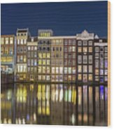 Amsterdam Canal Houses At Night Wood Print