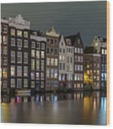 Amsterdam City Lights Wood Print