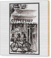 Amsterdam Coffe Shop Black And White Wood Print