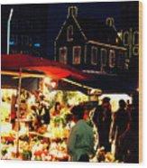 Amsterdam Flower Market Wood Print