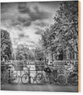 Amsterdam In Monochrome  Wood Print
