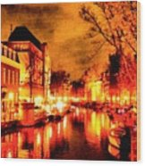 Amsterdam Night Life L A S Wood Print