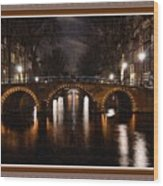Amsterdam - Night Life L B With Decorative Ornate Printed Frame. Wood Print