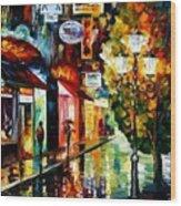 Amsterdam Night Rain Wood Print