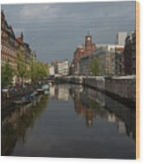 Amsterdam - Singel Canal With The Floating Flower Market Wood Print