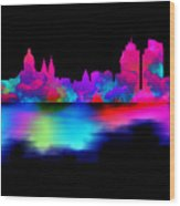Amsterdam Skyline - Pink Blue Wood Print