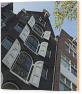 Amsterdam Spring - Arched Windows And Shutters - Right Wood Print