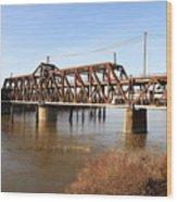 Amtrak California Crossing The Old Sacramento Southern Pacific Train Bridge . 7d11674 Wood Print